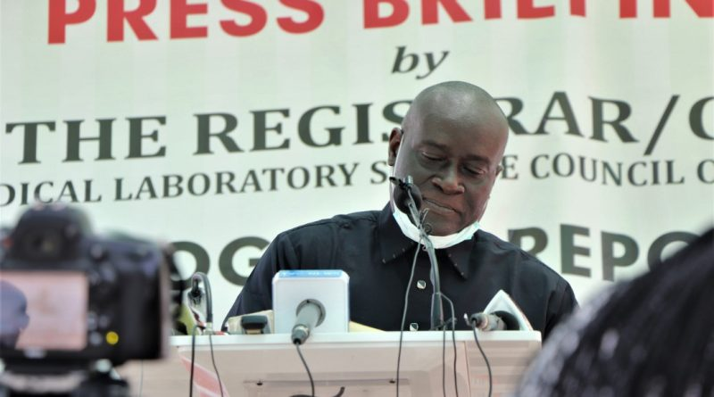 MLSCN press briefing on the progress report of pre-market validation of SARS-CoV-2 infection (COVID-19) Rapid Test Kits (RTKs) in Nigeria and unveiling of guidelines for private Medical Laboratories seeking to provide COVID-19 testing on Friday, May 29, 2020.