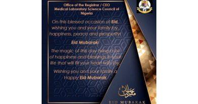 ERHABOR CONGRATULATES MUSLIM MLS PRACTITIONERS ON 1441 AH EID-EL-ADHA