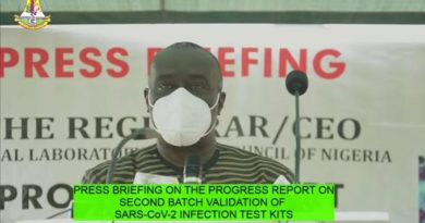 Press Briefing On The Report Of The second batch Pre-Market Validation Of SARS-COV-2 Infection (COVID-19) Test Kits In Nigeria By Dr. Tosan Erhabor, Registrar/Chief Executive Officer, Medical Laboratory Science Council Of Nigeria (MLSCN) On Tuesday, October 13, 2020
